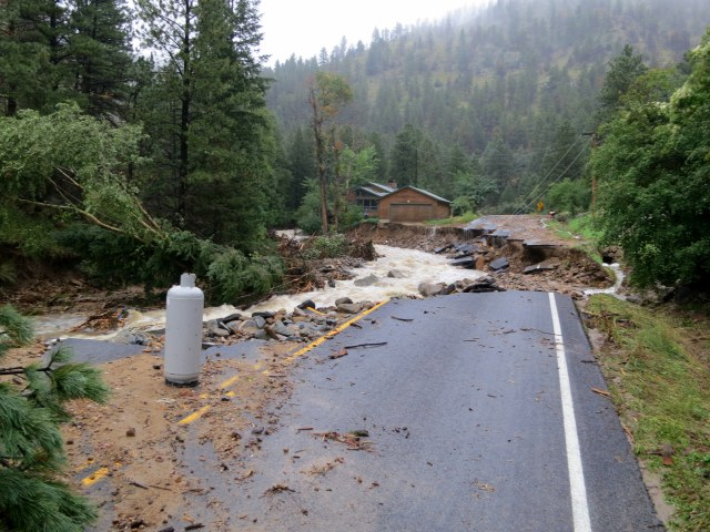 The second damaged section. The road is completely gone.