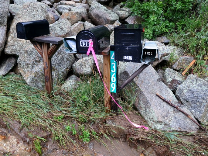 The first damage is just below these mailboxes.