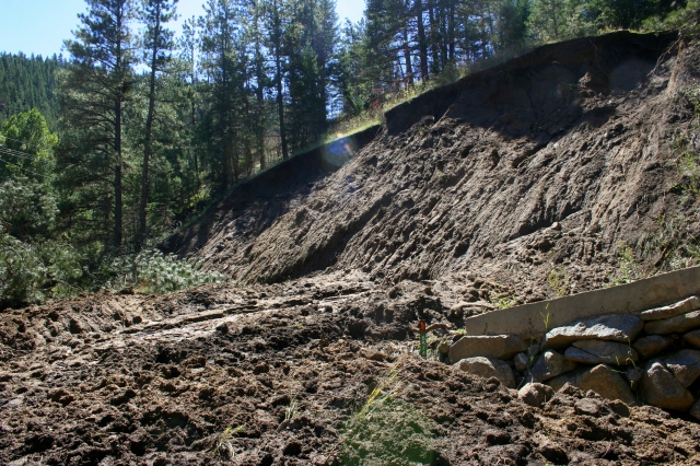 A big mudslide, right at 5574 Fourmile Canyon dr.