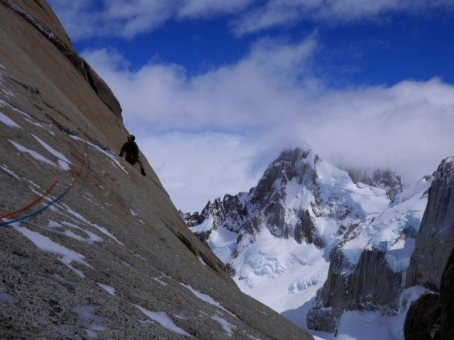 Graham following the first pitch of Exocet, on Aguja Stanhardt. We bailed a few pitches later in very strong cold winds. We will be back in the Torres soon!