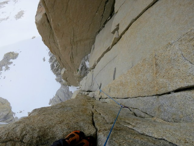Looking back down the third pitch, which transferred across four small dihedrals to reach the main one.