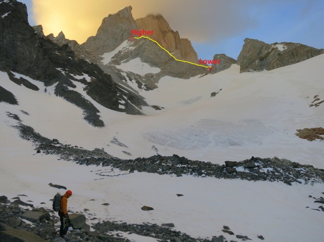 A photo from Piedras Negras basecamp, again showing the NW (Geordani) Ridge in yellow, and the higher and lower approach options for the W Face.