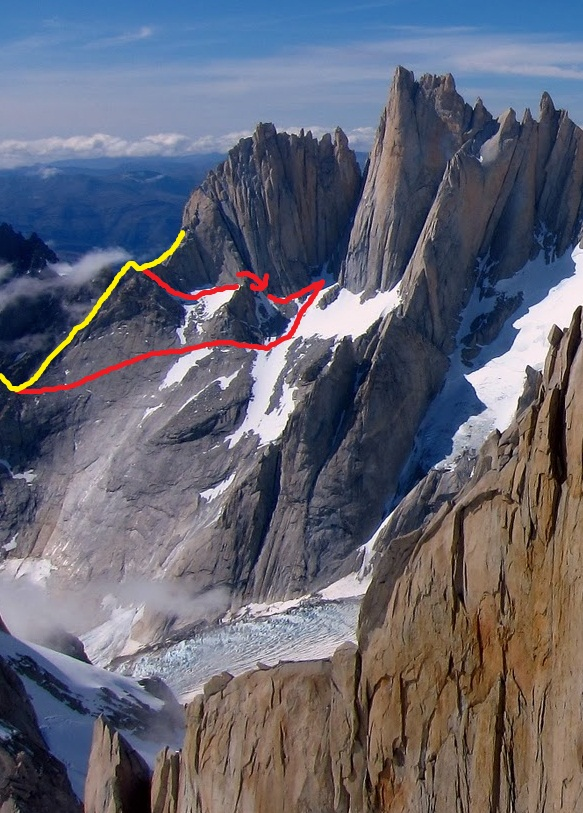 Approach options for Bossanova, Manos al Cielo, Argentina Route on Mermoz, etc. The Yellow line is the lower NW ridge of Guillamet (the Geordani Ridge). This photo was taken in very dry conditions, the lower approach is often completely snow in early season. The higher approach involves one 30m rappel, down a small spur on the W Face.