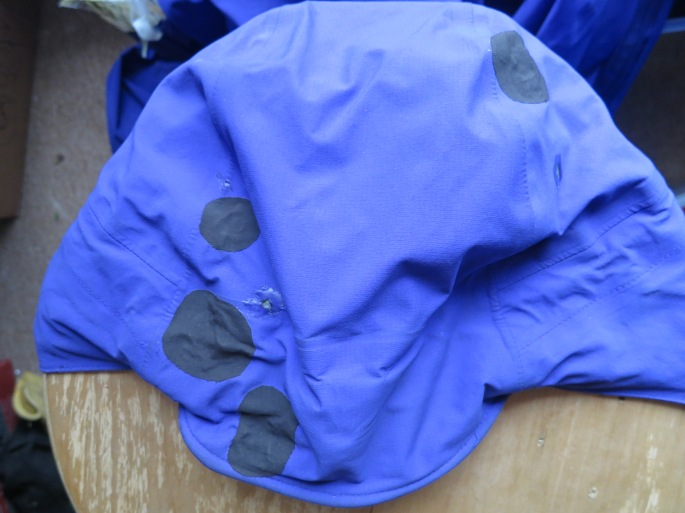The hood of my jacket, patched up after a buckshot of titanium droplets compromised some of its waterproof-ness.