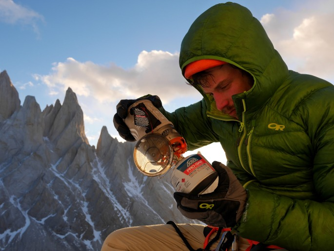 Graham Zimmerman assembles our water machine in the Torre Valley, Argentina.