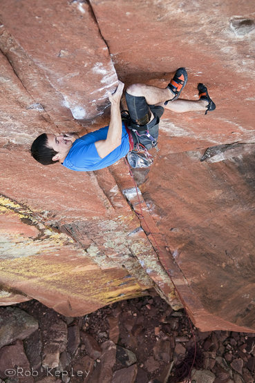 "Brad ""Bradical!"" Gobright on the Eldo classic ""Musta Been High"" (5.13R). Photo by Rob Kepley."