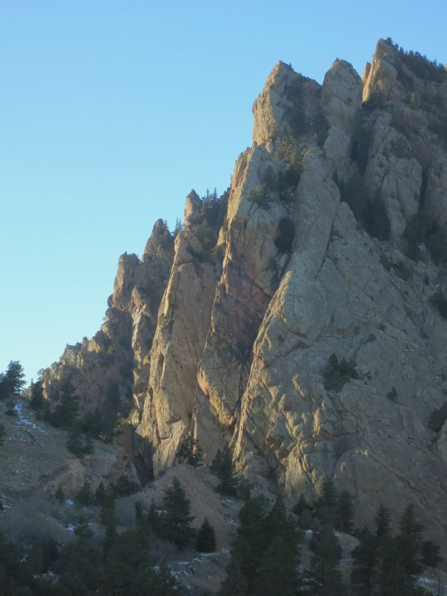 "The ""Naked Edge"" follows the prominent arete in the center of this photo."