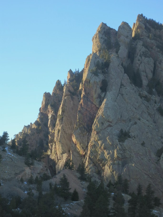 """The """"Naked Edge"""" follows the prominent arete in the center of this photo."""