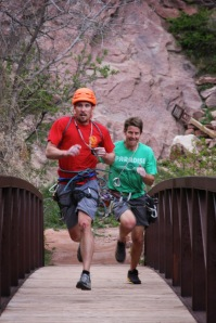 Stefan and Jason race across the finish line earlier this year. Photo by Bill Wright. http://billwright510climbing.blogspot.com/