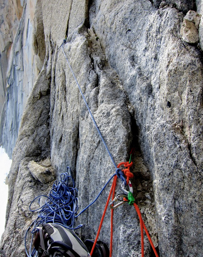 A tricky anchor,  bringing together two far flung cams. The blue rope in this photo was our tagline, but you could also use the lead line instead if you had enough rope.